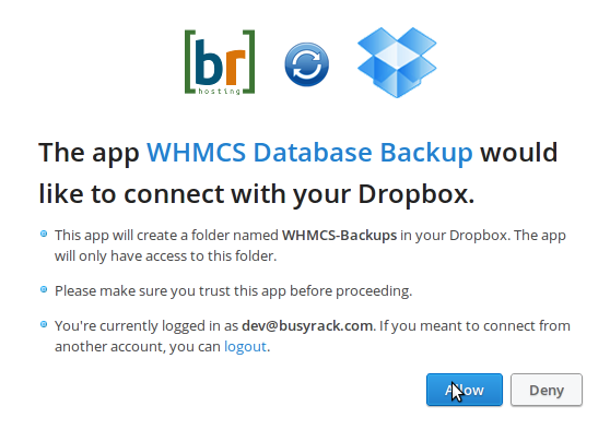 WHMCS Backup to Dropbox Integration